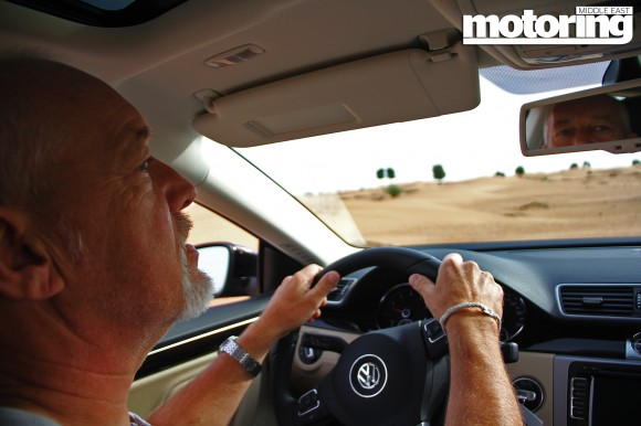 Volkswagen CC driven in the desert on sand in UAE